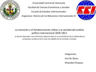 Universidad Central de Venezuela Facultad de Ciencias Económicas y Sociales