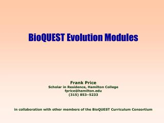 BioQUEST: Biology Quality Undergraduate Educational Simulations  Tools