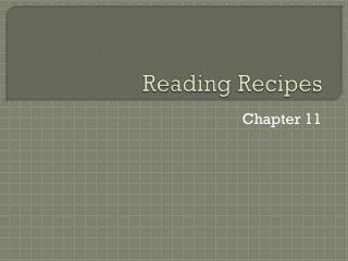 Reading Recipes