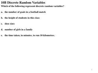 10B Discrete Random Variables