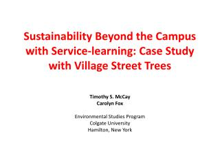 Sustainability Beyond the Campus with Service-learning: Case Study with Village Street Trees