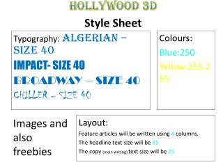 HOLLYWOOD 3D Style  Sheet