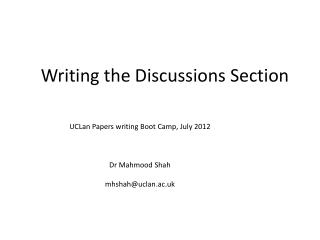 Writing the  Discussions  Section