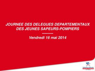 JOURNEE DES DELEGUES DEPARTEMENTAUX DES JEUNES SAPEURS-POMPIERS --------- Vendredi 16 mai 2014