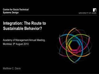 Integration: The Route to Sustainable Behavior?