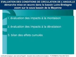 EVALUATION DES CONDITIONS DE CIRCULATION DE L ANGUILLE d marche mise en  uvre dans la bassin Loire-Bretagne  zoom sur le