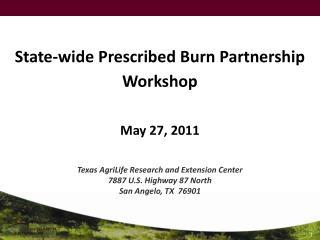 State-wide Prescribed Burn Partnership  Workshop