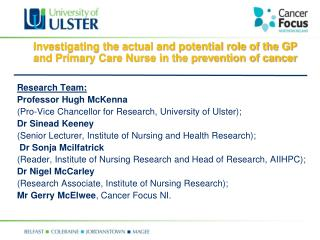 Research Team: Professor Hugh McKenna  (Pro-Vice Chancellor for Research, University of Ulster);