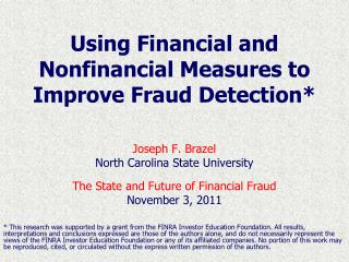 Using Financial and Nonfinancial Measures to Improve Fraud Detection*