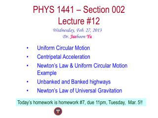 PHYS  1441  – Section  002 Lecture  #12