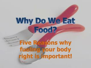 Why Do We Eat Food?
