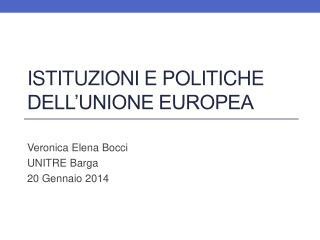 Istituzioni e politiche dell'unione europea