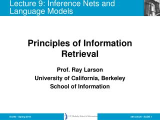 Lecture  9: Inference Nets and Language  Models