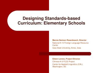 Designing Standards-based Curriculum: Elementary Schools