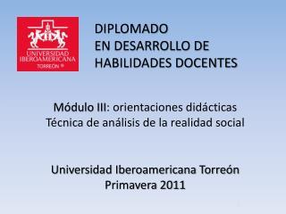 DIPLOMADO  EN DESARROLLO DE HABILIDADES DOCENTES