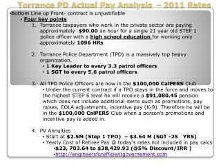 Torrance PD Actual Pay Analysis � 2011 Rates