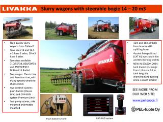 Slurry wagons with steerable bogie  14 – 20 m3