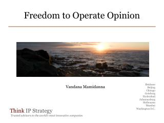 Freedom  to Operate Opinion