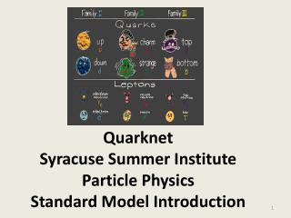 Quarknet Syracuse Summer  Institute Particle  Physics Standard Model Introduction