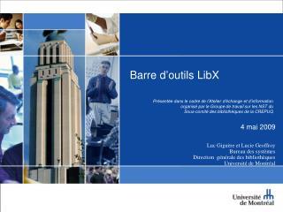 Barre d'outils  LibX