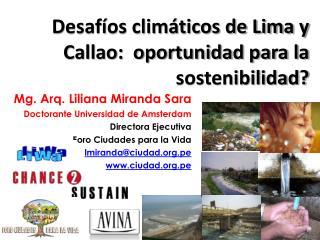 Mg. Arq. Liliana Miranda Sara Doctorante  Universidad de Amsterdam Directora  Ejecutiva
