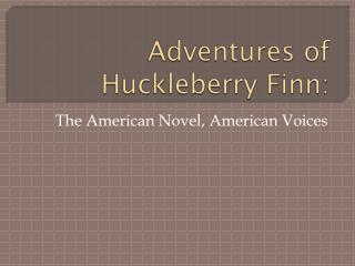 Adventures of Huckleberry Finn: