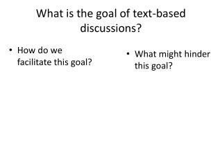 What is the goal of text-based discussions?