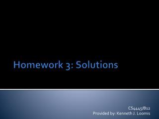 Homework 3: Solutions