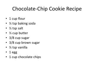 Chocolate-Chip Cookie Recipe