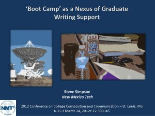 'Boot Camp' as a Nexus of Graduate  Writing Support