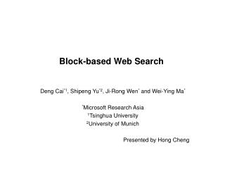 Block-based Web Search
