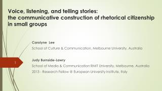 Carolyne  Lee School of Culture & Communication, Melbourne University, Australia