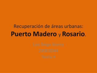 Recuperaci�n de �reas urbanas:  Puerto Madero y Rosario .