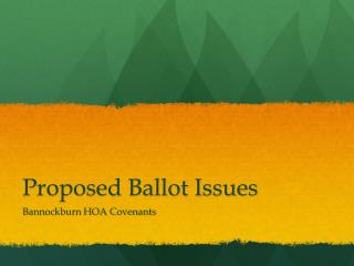 Proposed Ballot Issues