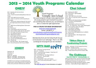2013 – 2014  Youth Programs Calendar
