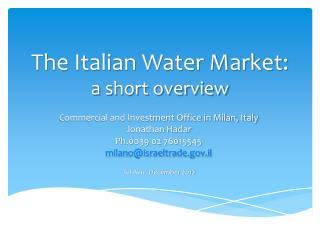 The Italian Water Market: a short overview