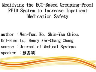 Modifying the ECC-Based Grouping-Proof RFID System to Increase  Inpatient Medication  Safety