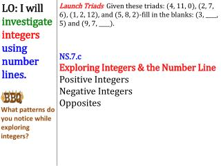 NS.7.c Exploring Integers &  the  Number Line Positive Integers Negative Integers Opposites