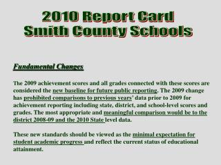 2010  Report Card Smith County Schools
