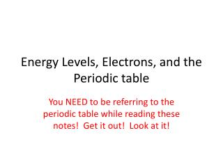 Energy Levels, Electrons, and the Periodic table