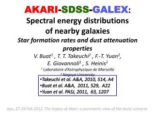 Takeuchi  et al. A&A, 2010, 514, A4 Buat  et al. A&A,  2011, 529,  A22