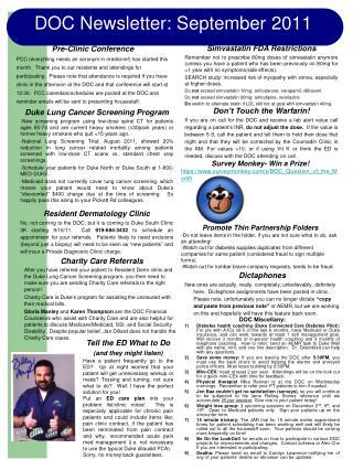 DOC Newsletter: September 2011