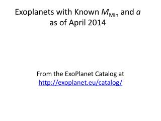 Exoplanets with Known  M Min  and  a  as of April 2014