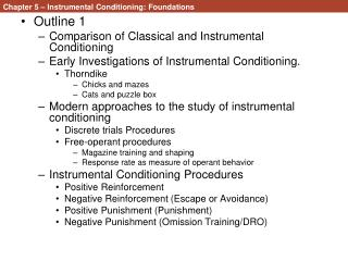 Chapter 5 – Instrumental Conditioning: Foundations