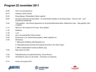 Program 22 november 2011