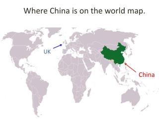 Where China is on the world map.