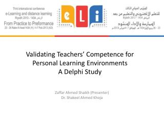 Validating Teachers' Competence for Personal Learning  Environments A  Delphi  Study