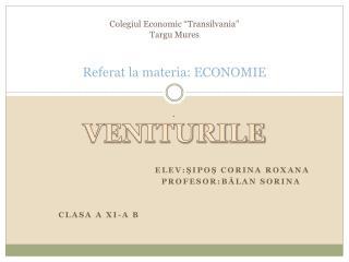 """Colegiul  Economic """" Transilvania """" Targu Mures Referat  la  materia : ECONOMIE"""