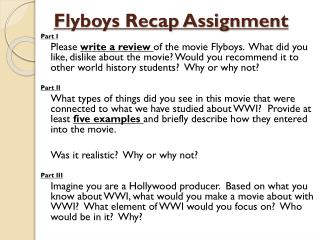 Flyboys Recap Assignment