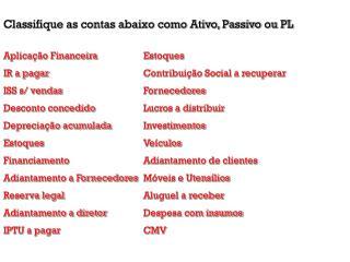 Classifique as contas abaixo como Ativo, Passivo ou PL Aplicação FinanceiraEstoques